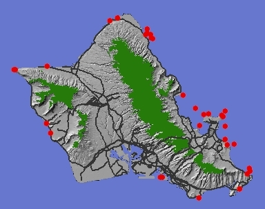 Seabird nesting concentrations on O'ahu